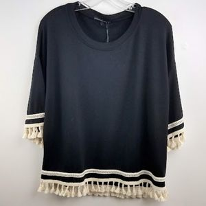 Harlow & Graham Pompom Applique Knit Top Black L